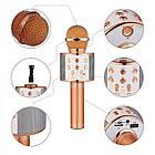 Bluetooth микрофон-караоке WS-858 с динамиком (колонкой), слотом USB и FM тюнером (Розовый), фото 6