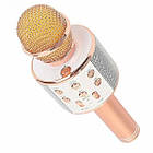 Bluetooth микрофон-караоке WS-858 с динамиком (колонкой), слотом USB и FM тюнером (Розовый), фото 9