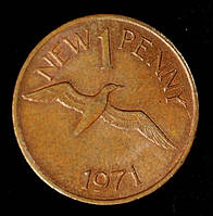 Монета Гернси 1 пенни 1971 г. Баклан