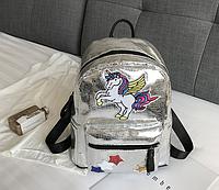 Рюкзак серебристый Единорог