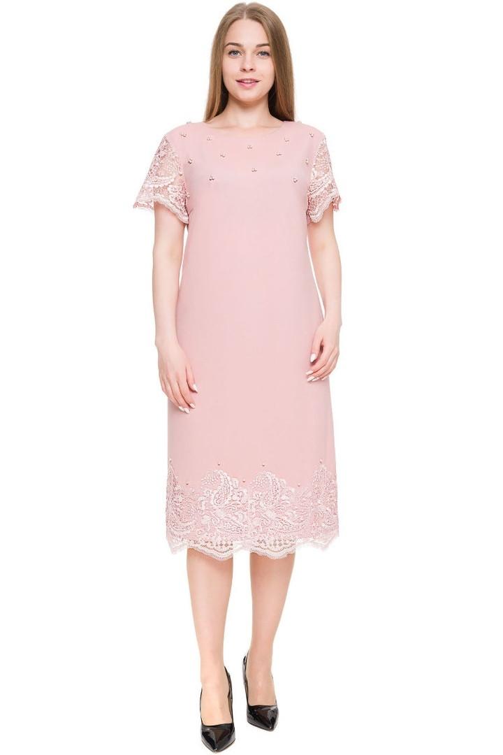 Нарядное женское платье украшенное французким кружевом батал с 54 по 60 размер