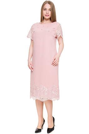 Нарядное женское платье украшенное французким кружевом батал с 54 по 60 размер, фото 2