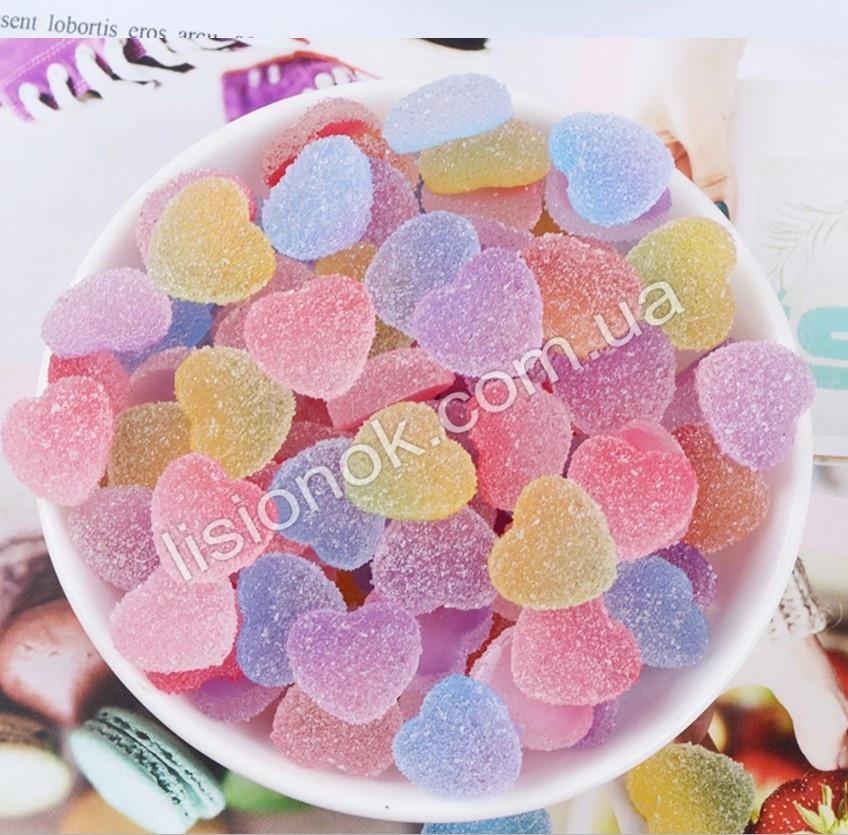 Шармики для слаймов сахарные сердечки (2 шт.) – для украшения слайма, slime charms, шарм в слайм
