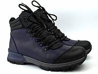 Зимние синие кожаные ботинки на овчине мужская обувь Rosso Avangard Lomer 2 Blu Ocean Leather
