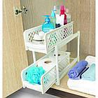 Органайзер для хранения для ванной или кухни Basket Drawers Portable на 2 съемные секции   подставка для кухни, фото 2