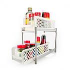 Органайзер для хранения для ванной или кухни Basket Drawers Portable на 2 съемные секции   подставка для кухни, фото 3