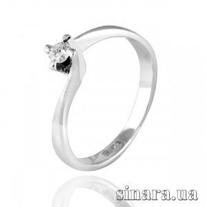 Кольцо из белого золота с одним бриллиантом 27237