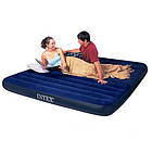 Пляжный надувной двуспальный матрас - плот велюровый синий 68755SH INTEX 183х203 см, фото 2