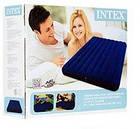 Пляжный надувной двуспальный матрас - плот велюровый синий 68755SH INTEX 183х203 см, фото 6