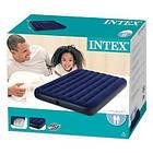 Пляжный надувной полуторный матрас - плот велюровый синий 68758 SH INTEX 137-191-22 см, фото 3