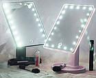 Зеркало для макияжа с LED подсветкой Magic MakeUp Mirror прямоугольное РОЗОВОЕ, фото 8