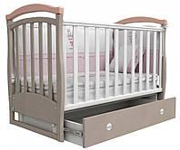 Детская кроватка Верес Соня ЛД6 с маятником и ящиком Капучино розовый 06.12