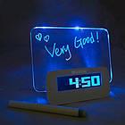 Светящийся LED будильник с доской для записи «Светящаяся записка» с маркером   Настольные цифровые лед часы, фото 9