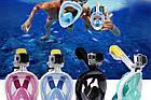 Инновационная маска для снорклинга подводного плавания Easybreath голубая, фото 8