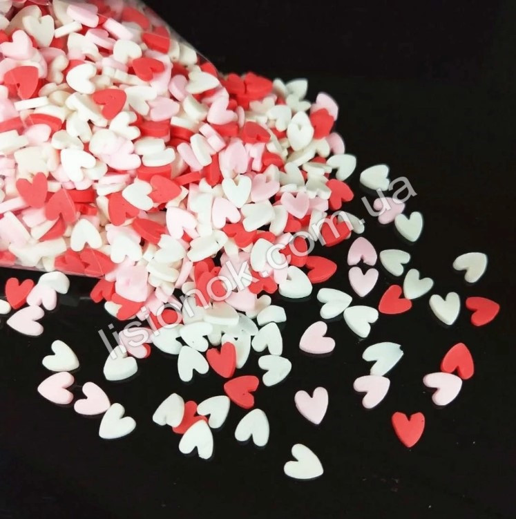 Посыпка для слаймов – фимо сердечки (200 шт.), добавки в слайм, Love slime
