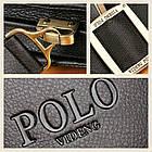 Кожаная сумка Polo Videng | мужская сумка Поло КОРИЧНЕВАЯ, фото 7