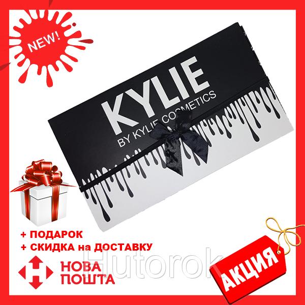 Набор жидких матовых помад Kylie Black edition черный с бантиком 12 штук   помада Кайли