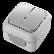 Выключатель двухклавишный  VIKO Palmiye серый