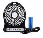Мини вентилятор mini fan с аккумулятором (Black), фото 4