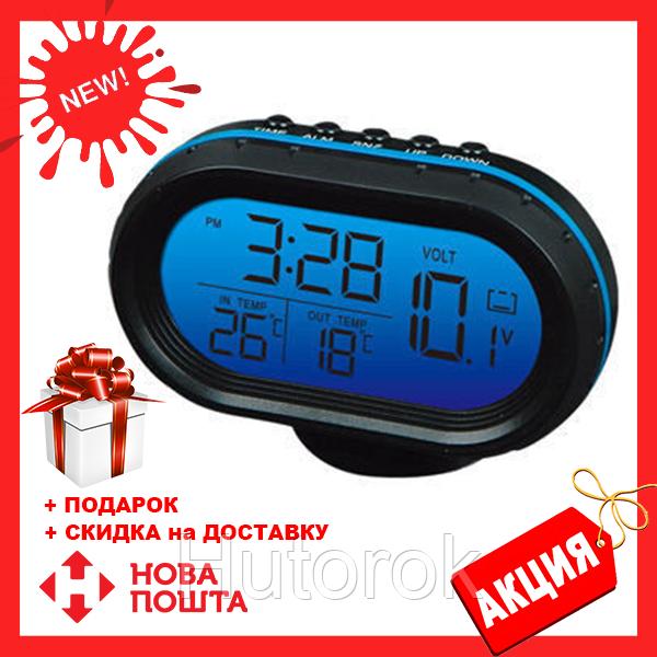 Многофункциональные автомобильные электронные часы VST 7009V | термометр вольтметр | автомочасы
