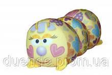 Арт-подушка игрушка антистресс, полистерольные шарики 38х18 см / tp - 12аси03ив Гусеница Сердце 38*18см
