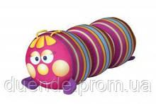 Арт-подушка игрушка антистресс, полистерольные шарики 38х18 см / tp - 12аси03ив Гусеница Полосатая роз 38*18см