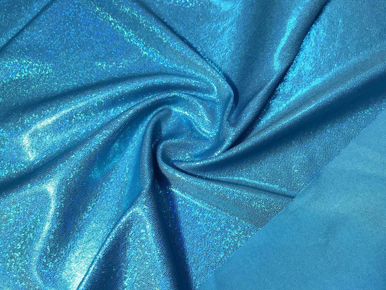 Трикотаж масло нарядное мелкая голограмма радужная, бирюзово-голубой