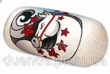 Подушка валик интерьерный антистрессовый, принт Лошадки, полистерольные шарики, размер 33*18 см / tp - 14асв02