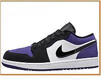 Мужские кроссовки Nike Air Jordan 1 Retro High Purple Low (низкие найк аир джордан ретро 1, фиолетовые  белые)