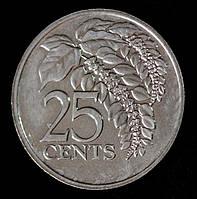Монета Тринидад и Тобаго 25 центов 1993 г.