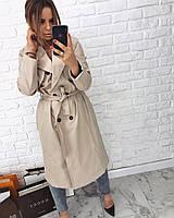 Тренч плащ стильный модный практичный на подкладе с поясом ткань парка Gav948