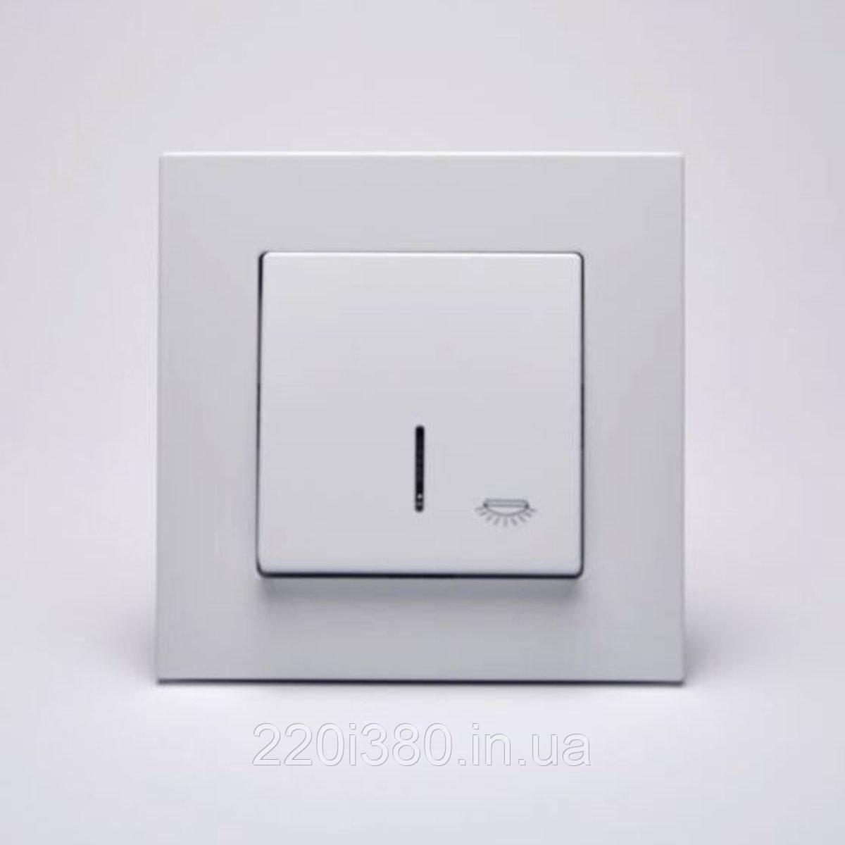 Eqona Кнопка звонка  с подсветкой с этикеткой белая