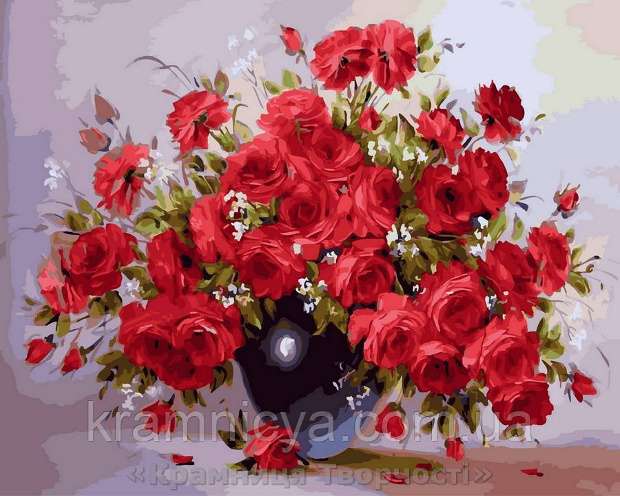 Картина по номерам 40x50 Аромат красных роз, Rainbow Art (GX28754)