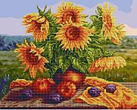 Алмазная картина-раскраска 40х50 Букет подсолнухов, Rainbow Art (GZS1017)