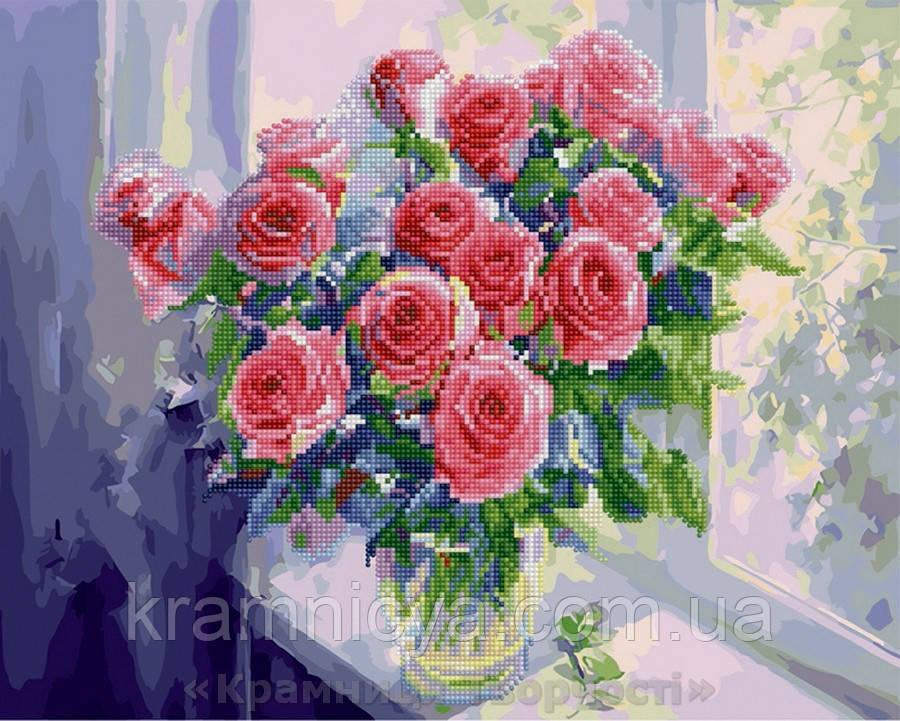Алмазная картина-раскраска 40х50 Розы на окне, Rainbow Art (GZS1023)