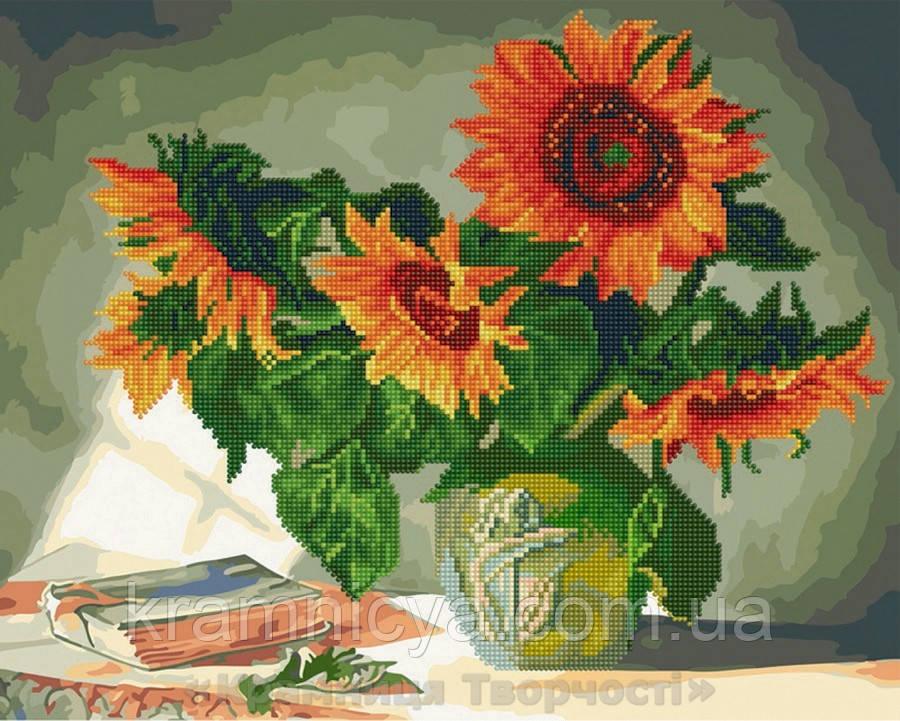 Алмазная картина-раскраска 40х50 Яркие подсолнухи, Rainbow Art (GZS1027)