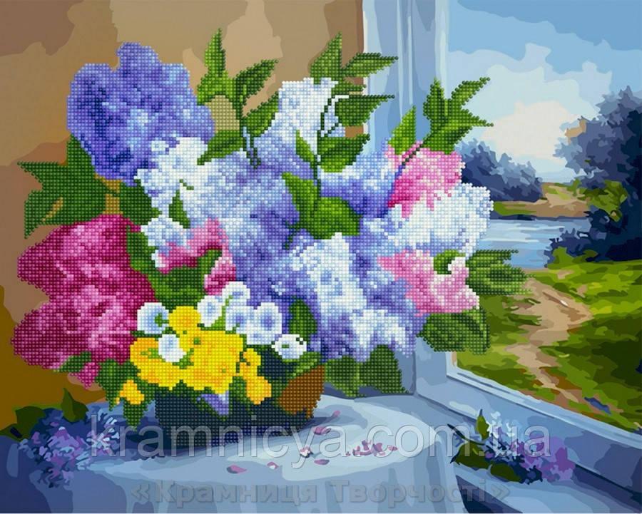 Алмазная картина-раскраска 40х50 Сирень на столике, Rainbow Art (GZS1030)