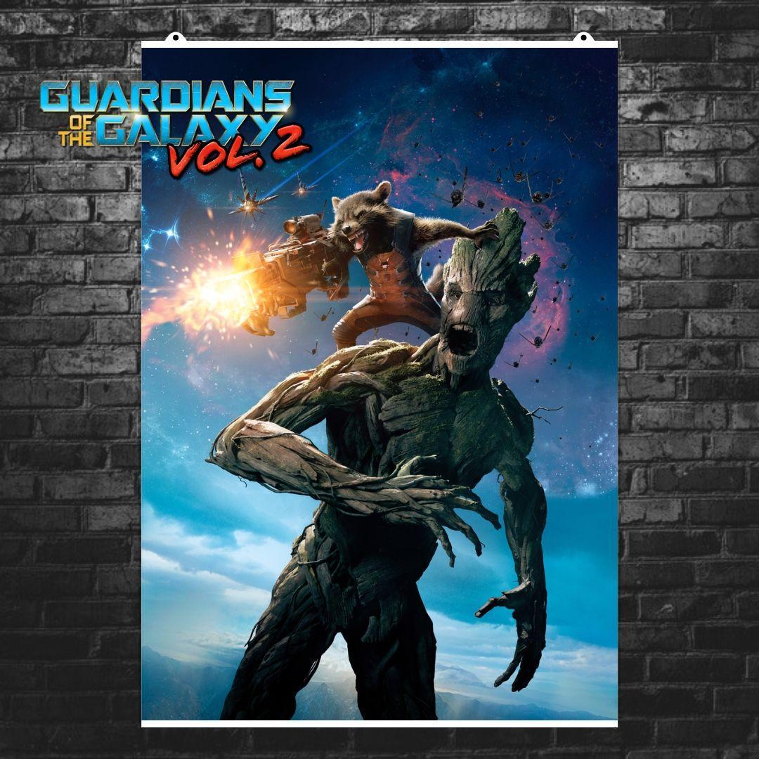 """Постер """"Грут и Реактивный Енот"""", GOTG, Стражи Галактики, Marvel. Размер 60x42см (A2). Глянцевая бумага"""