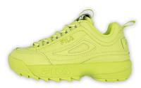Женские кроссовки Fila Disruptor 2 Neon Yellow (фила дисраптор 2, желтые/салатовые)