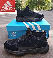 Мужские ботинки кроссовки Adidas Yeezy Boost 500. Унисекс Черные