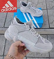 Мужские ботинки кроссовки Adidas Yeezy Boost 500. Унисекс Светло-серые