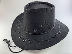 Шляпа Ковбойская чёрная замшевая, детская