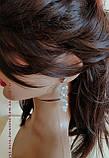 Веточка веночек в прическу в комплекте с серьгами тиара гребень ободок, под золото, фото 5