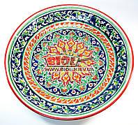 Ляган (узбекская тарелка) 42см для подачи плова керамический (ручная роспись) (цвет красный, вар.2)