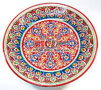 Ляган (узбекская тарелка) 42см для подачи плова керамический (ручная роспись) (цвет красный, вар.4)