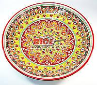 Ляган (узбекская тарелка) 42см для подачи плова керамический (ручная роспись) (цвет красный, вар.7)