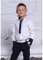 """Белая стильная  рубашка  для мальчика, подростка """"Галстук"""""""