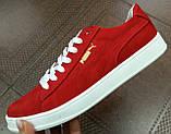Puma classic ! Стильные кроссовки кеды женские из красной натуральной кожи в стиле пума !, фото 2