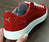 Puma classic ! Стильные кроссовки кеды женские из красной натуральной кожи в стиле пума !, фото 3