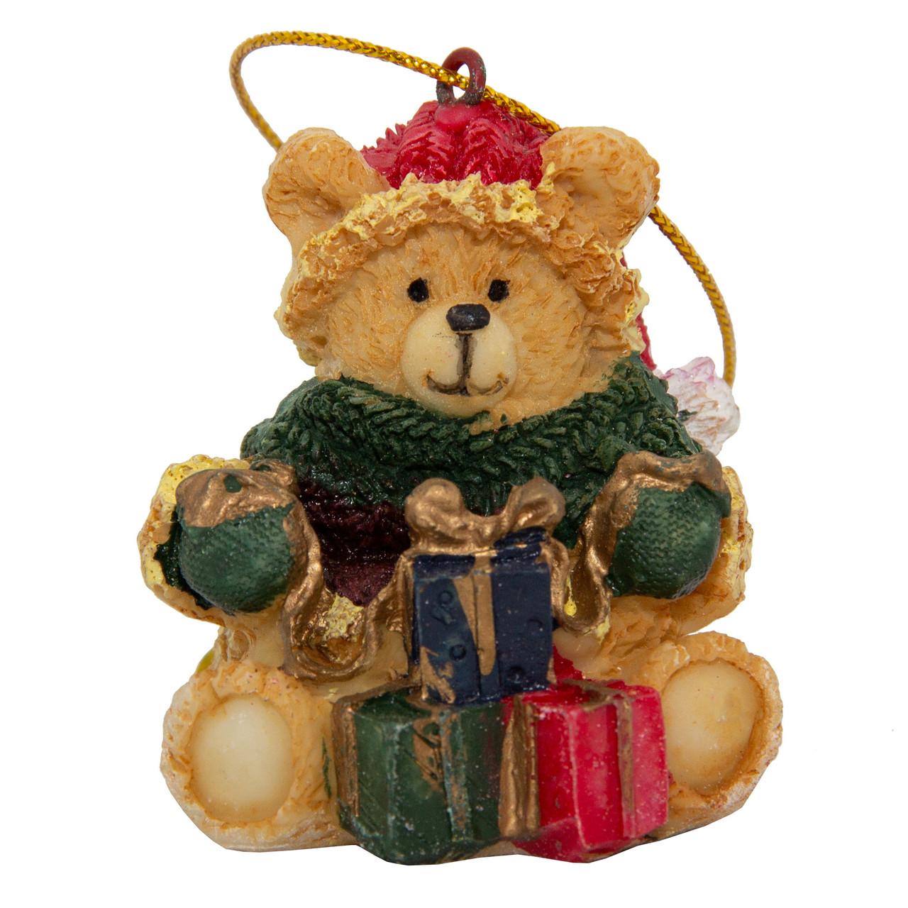 Новогодняя игрушка -фигурка медведь с подарком, 6 см, рыжий, полистоун (000012-22)